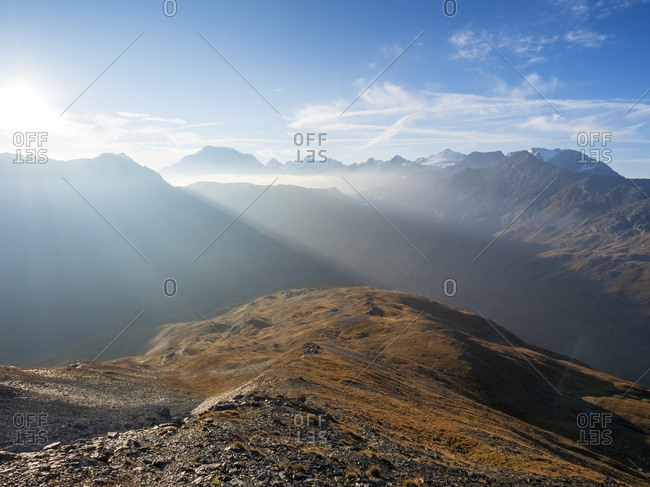 Border region Italy Switzerland- mountain landscape at Piz Umbrail with remains of the border from World War I