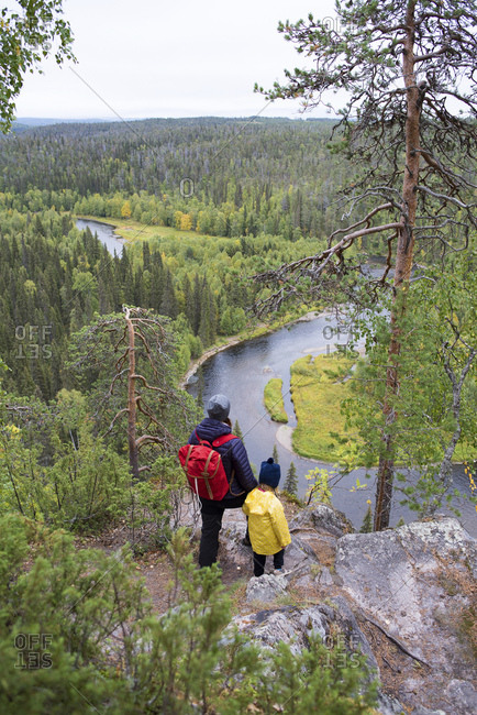 Finland- Oulanka National Park- mother and daughter standing in pristine nature