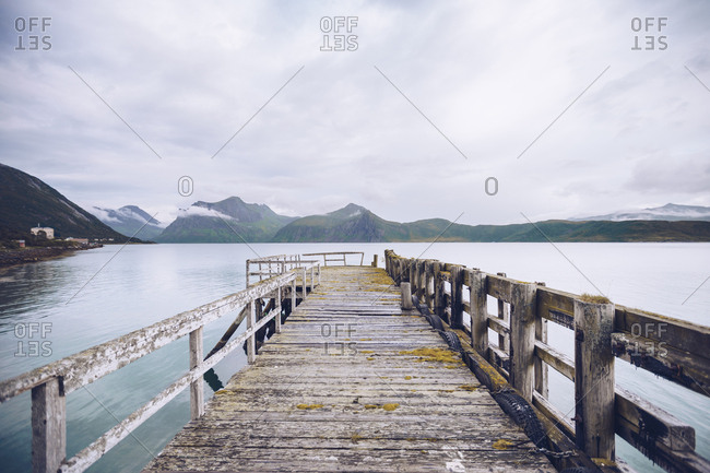 Norway- Senja- ramshackle jetty at the coast