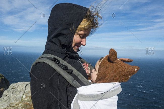 South Africa- Cape point- Mother with baby in baby carrier