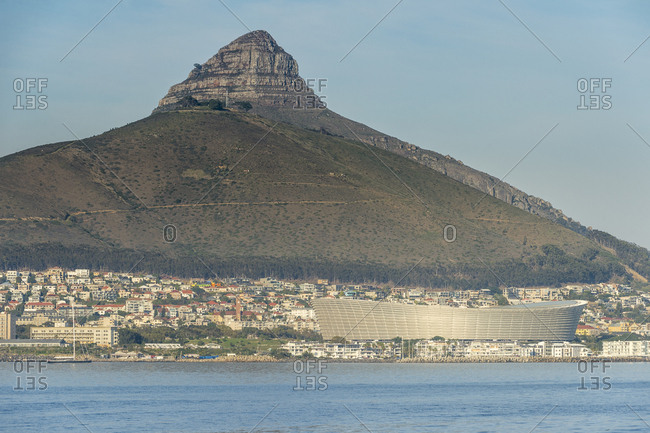 July 13, 2016: South Africa- Cape Town- city view with Lion's Head
