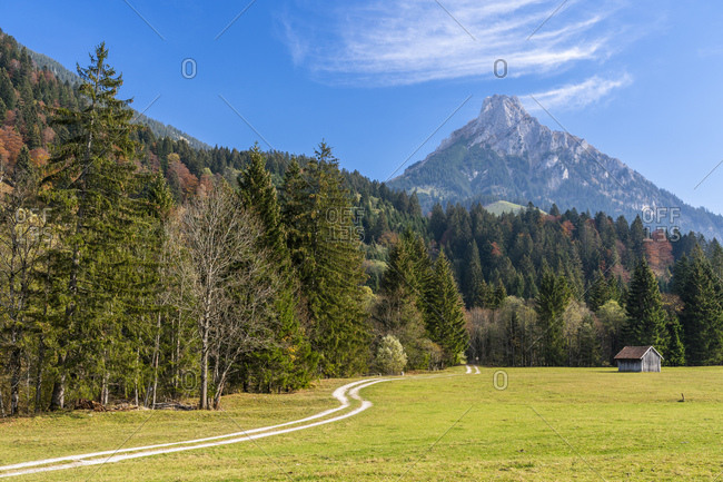 Germany- Bavaria- East Allgaeu- Pfronten- Allgaeu Alps- Aggenstein in autumn