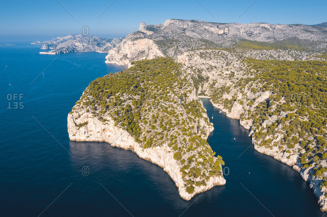 France, Provence-Alpes-Cote d'Azur, French Riviera, Bouches-du-Rhone, Cassis. Calanques national park. Aerial view