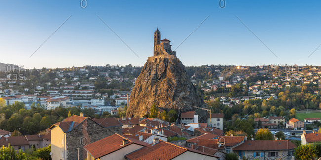 France - October 21, 2018: France, Auvergne-Rhone-Alpes, Haute-Loire, Le Puy-en-Velay. Saint-Michel d'Aiguilhe chapel, built on top of the rock to celebrate the return from the pilgrimage of Saint James.