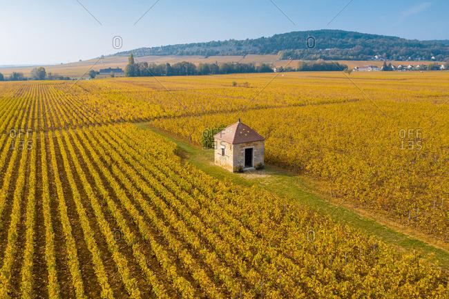 France - October 19, 2018: France, Bourgogne-Franche-Comte, Burgundy, Cote-d'Or, Cote de Beaune. Typical barn in the vineyards.