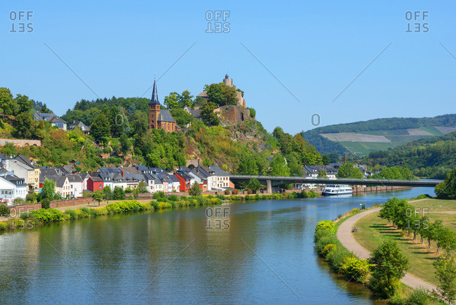 Saarburg - August 22, 2018: View at Saarburg with Saarburg castle and river Saar, Rhineland-Palatinate, Germany