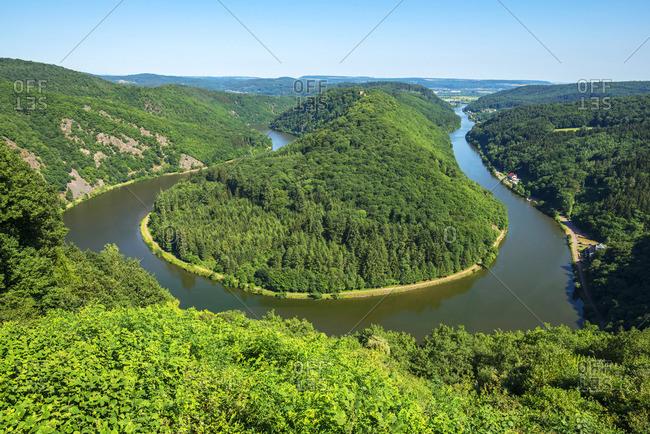 Grand horseshoe bend of river Saar near Orscholz, Saarland, Germany
