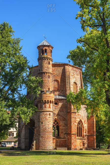 Mettlach - September 25, 2018: 10th century Old tower, oldest religious building at the Saarland, Mettlach, Saarland, Germany