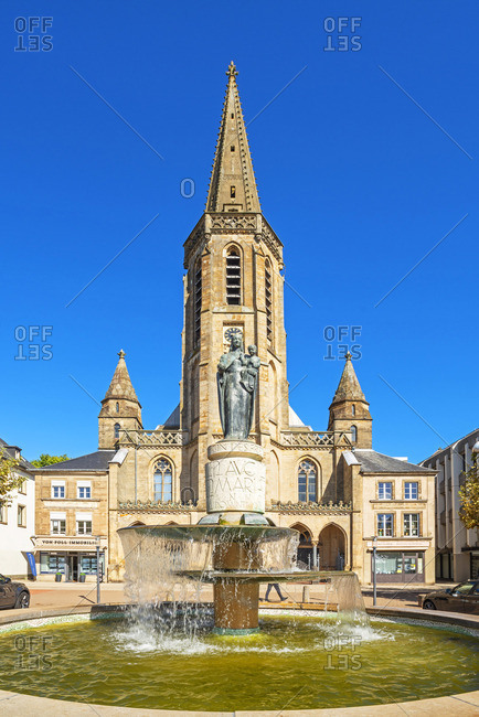 Saarlouis - September 25, 2018: Church St. Ludwig at the Great Market Place, Saarlouis, Saarland, Germany