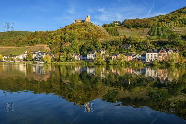 Germany - September 26, 2018: Bernkastle-Kues with Landshut castle, Mosel valley, Rhineland-Palatinate, Germany