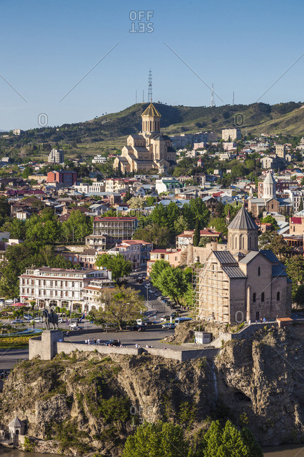 Georgia - May 2, 2018: Georgia, Tbilisi, Tsminda Sameba Cathedral and Metekhi Church