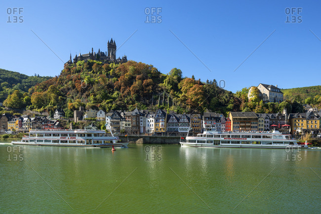 Germany - September 27, 2018: Reichsburg with river Mosel and Cochem, Mosel valley, Rhineland-Palatinate, Germany