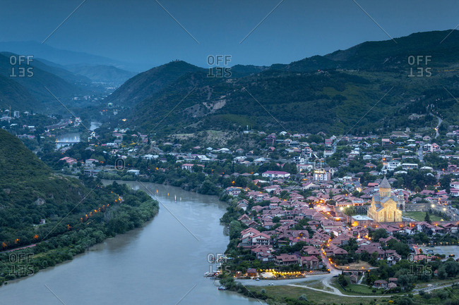 Georgia, Mtskheta, spiritual town where Christianity was established in 327AD, high angle view of town and Svetitskhoveli Cathedral
