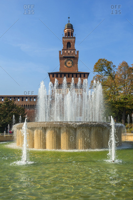 Sforzesco castle and fountain, Milan, Lombardy, Italy