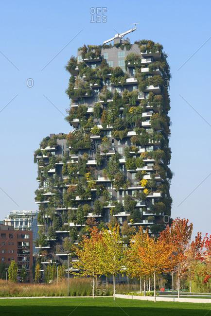 Milan - October 20, 2018: Bosco vertical building, Milan, Lombardy, Italy