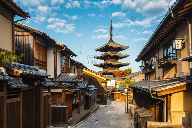 Japan - November 25, 2018: Higashiyama district (old town) and Yasaka Pagoda in Hokanji temple, Kyoto, Kansai region, Japan.
