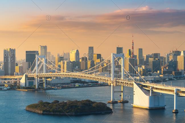 Japan - November 30, 2018: Rainbow Bridge and Tokyo Bay, Odaiba, Tokyo, Kanto region, Japan.