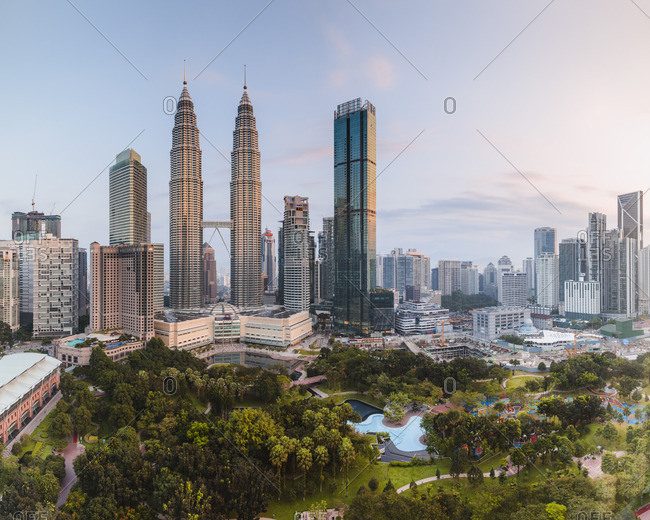 Malaysia - May 6, 2018: Skyline with KLCC and Petronas towers, Kuala Lumpur, Malaysia