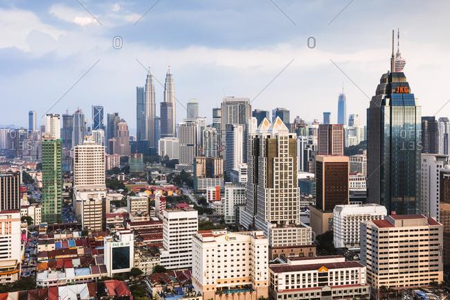Malaysia - May 8, 2018: Skyline with KLCC and Petronas towers, Kuala Lumpur, Malaysia