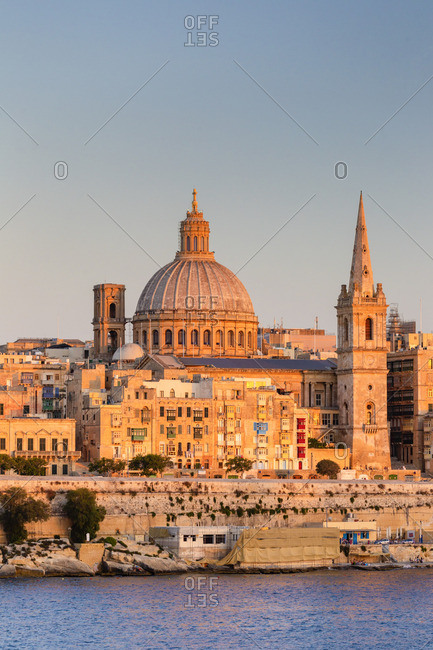 Malta, Malta, Valletta, View over Old Town with St John's Co-Cathedral