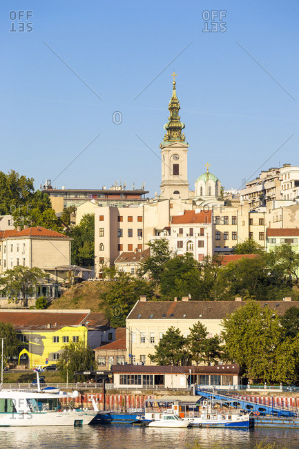 Serbia - September 12, 2018: Serbia, Belgrade, View of Sava River across to St. Michael's Cathedral in the historical center