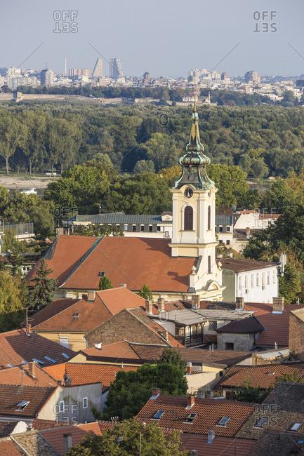 Serbia, Belgrade, Zemun, View of Zemun rooftops , Crkva Uznesenja blazene Djevice Marije  Church and the Danube river C