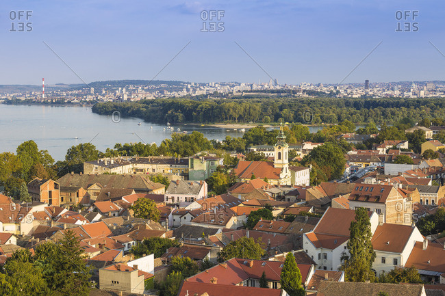 Serbia, Belgrade, Zemun, View of Zemun rooftops , Crkva Uznesenja blazene Djevice Marije  Church and the Danube river C