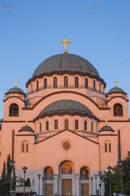 St. Sava Cathedral in Belgrade during sunset