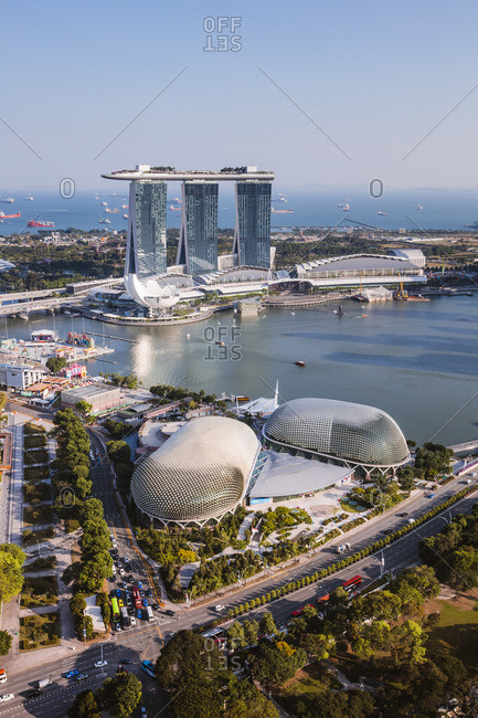 Singapore - February 20, 2018: Elevated view of Marina Bay Sands at daytime, Singapore
