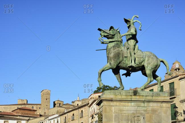 Spain - October 6, 2018: Equestrian statue of Francisco Pizarro, the Trujillo-born conquistador of Peru. Trujillo, Spain
