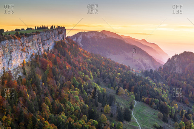 Sunrise in the Jura seen from mountain Grenchen, Grenchen, Solothurn, Switzerland