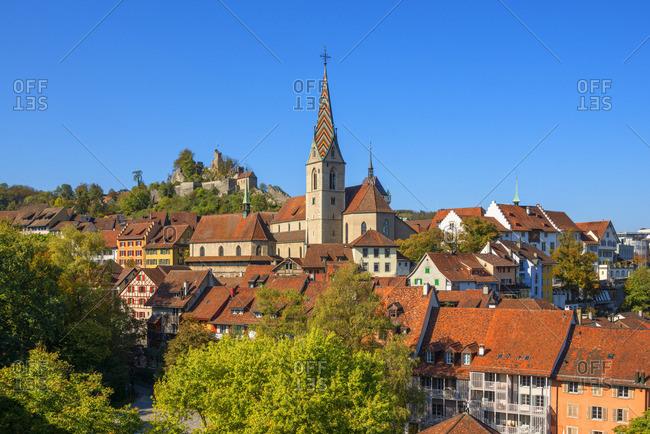 City church of Baden with Stein castle, Aargau, Switzerland