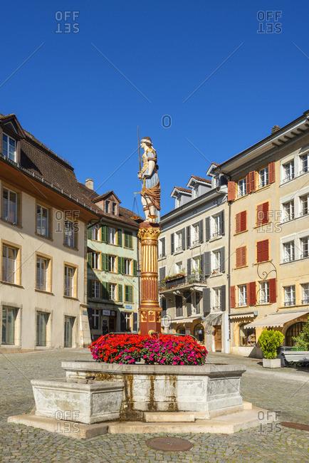 Switzerland - October 14, 2018: Justice fountain on Burgplatz, Biel, Bern, Switzerland