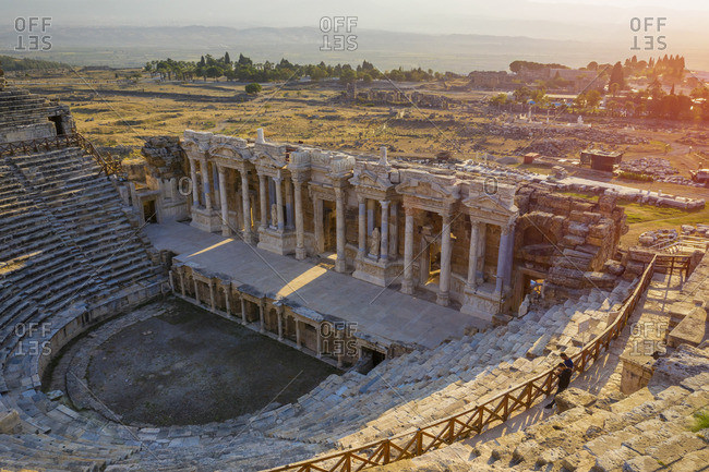Turkey, Denizli Province, Pamukkale, Hierapolis Pamukkale Archeological Site (UNESCO Site), Hierapolis Theater