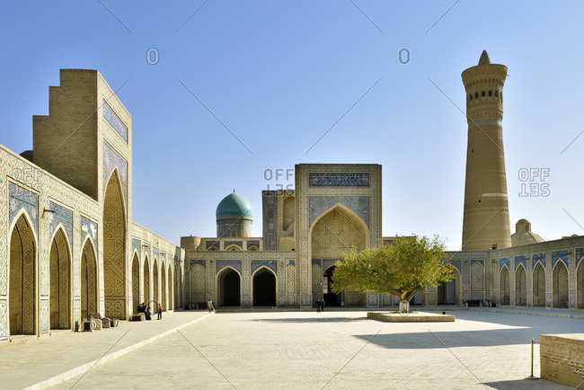 Uzbekistan - November 6, 2017: Kalon mosque and minaret. Bukhara, a UNESCO World Heritage Site.