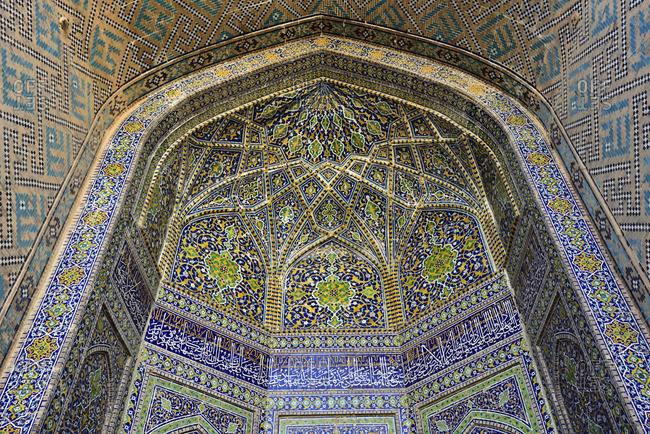 Ceramic tilework inside Ulugh Beg Madrasah, Registan. A Unesco World Heritage Site, Samarkand. Uzbekistan
