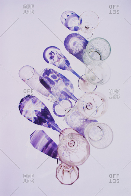 Lot of glasses on white background