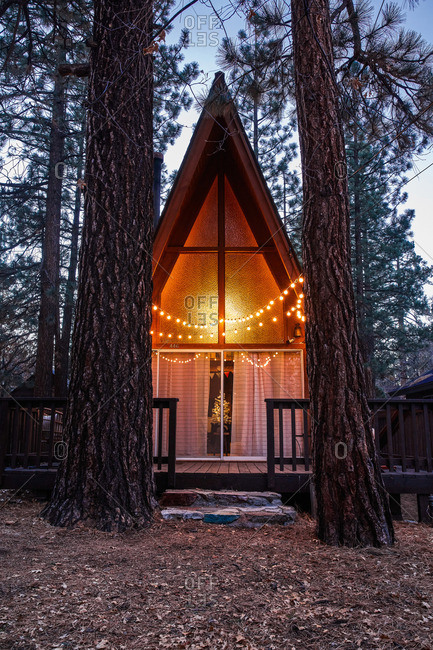 A-frame cabin surrounded by tall trees