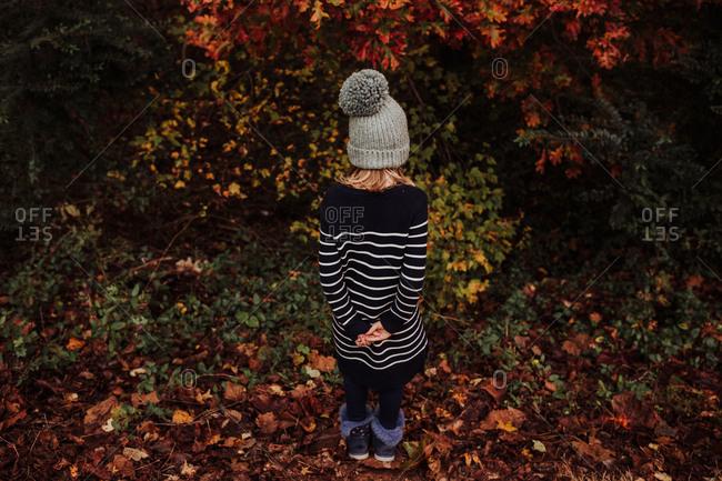 Little girl exploring near a forest