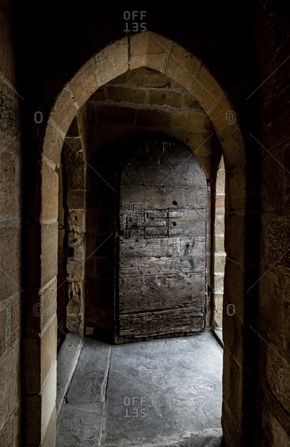 Detail of a medieval door in an old castle in southern France