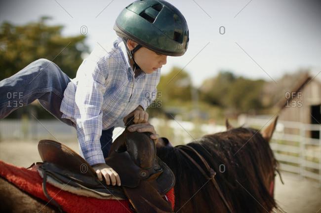 little boy climbs on horse