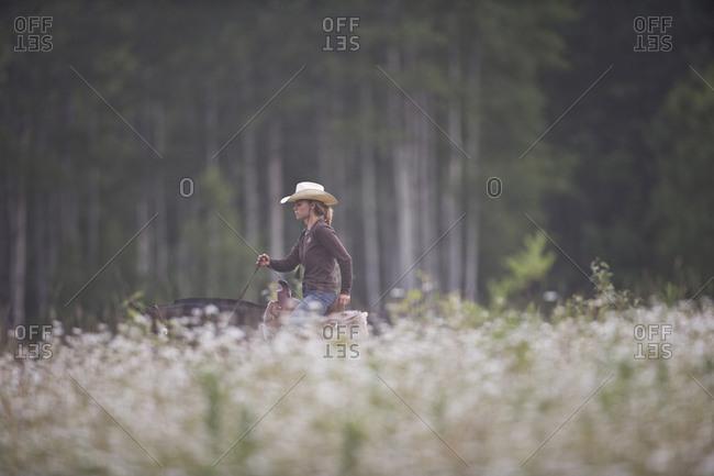 Young woman riding horse through meadow