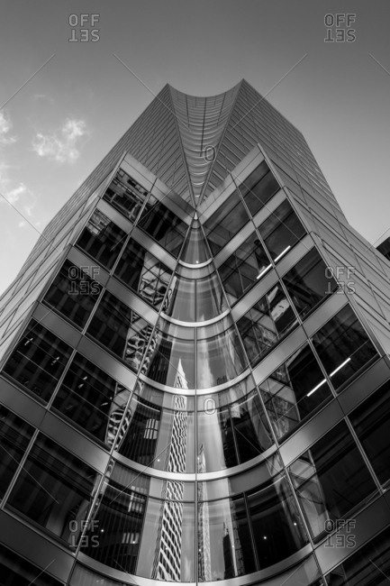 New York City - USA - DEC 26 2018: Perspective view to facade fragment of 7 Bryant Park in midtown Manhattan