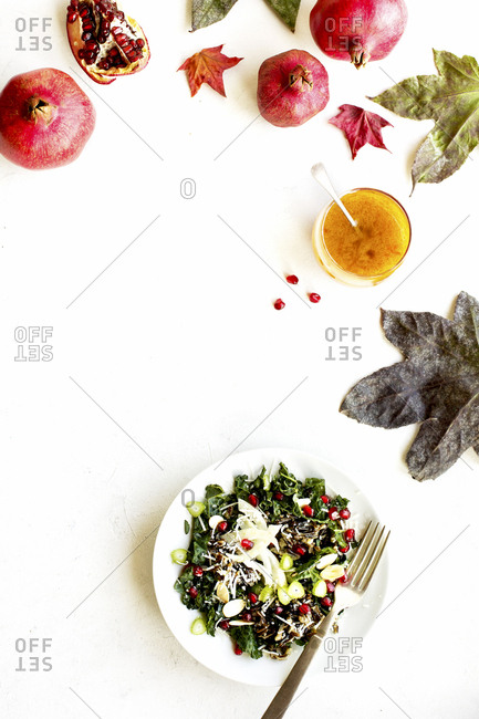 Plate of kale salad with whole pomegranates and dried leaves