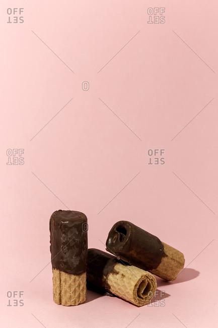 Crunchy waffle with chocolate