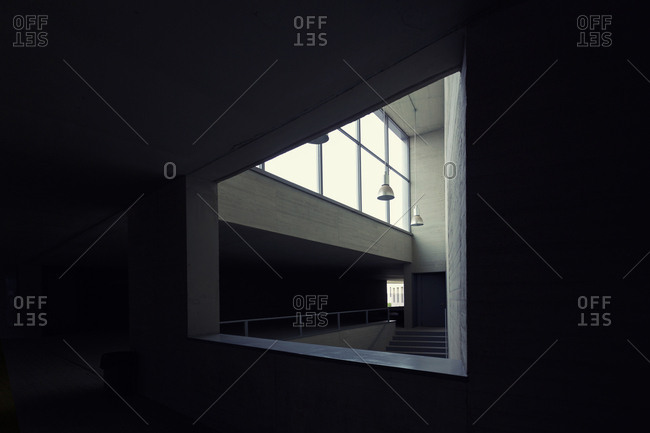 Interior of tiny room with stylish design inside of modern building
