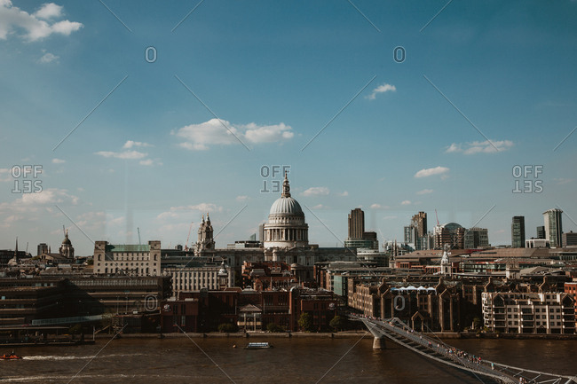 January 9, 2019: Magnificent view of River Thames and amazing London on cloudy day in England