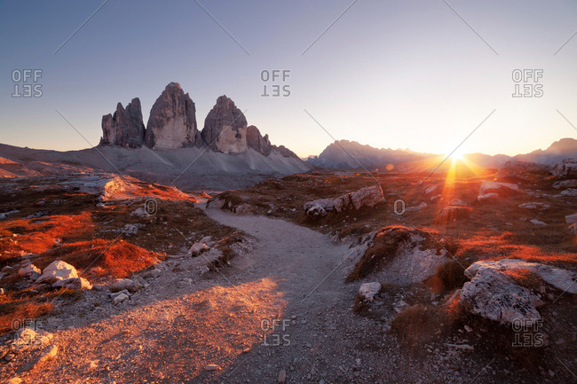 Panoramic view of Tre Cime at sunset, Dolomites Alps, Italy