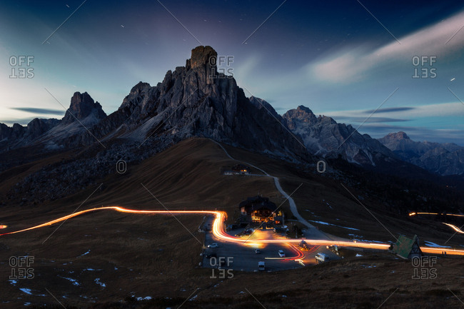 Passo Giau panoramic night view, Dolomites Alps, Italy