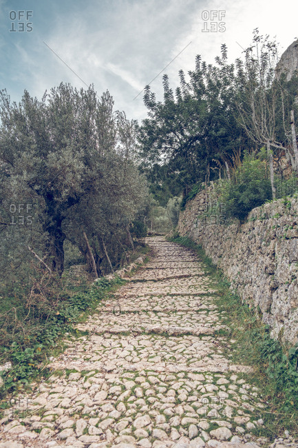 Ancient stone path in wonderful park in Soller, Spain
